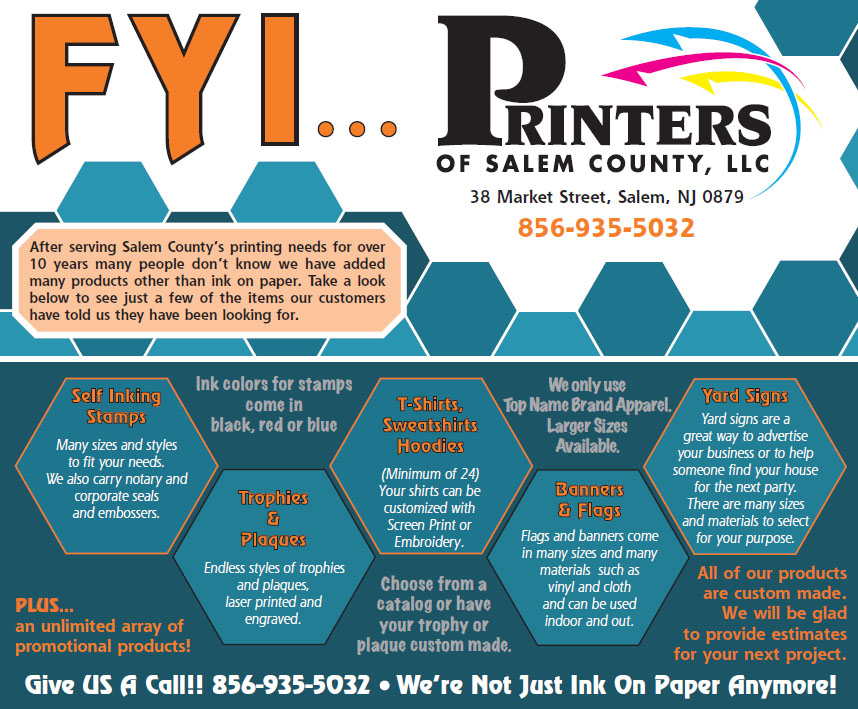 Printers of salem county new jersey affordable printing for the company located at 38 market street in salem has full service graphic design prepress press and bindery departments each department is outfitted reheart Choice Image